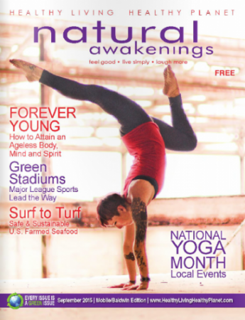 sterling hot yoga, natural awakenings magazine cover, national yoga month