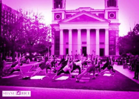 paint cathedral square pink breast cancer awareness free hot yoga class